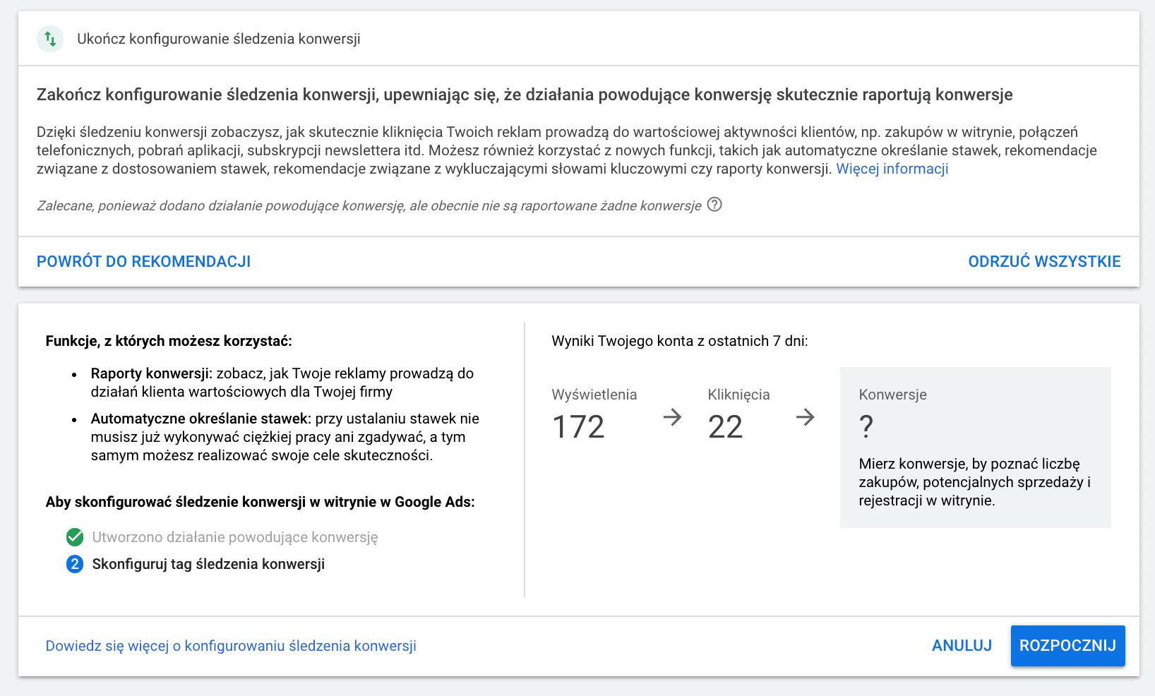 konfiguracja konwersji wGoogle Ads